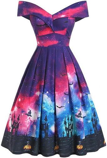 TWISFER damska sukienka bez ramion, sukienka na Halloween, dynia, nietoperz, sukienka wieczorowa w stylu vintage, sukienka Cosplay, minisukienka plisowana, sukienka w stylu retro, sukienka petticoat, sukienka lata 50., rockab