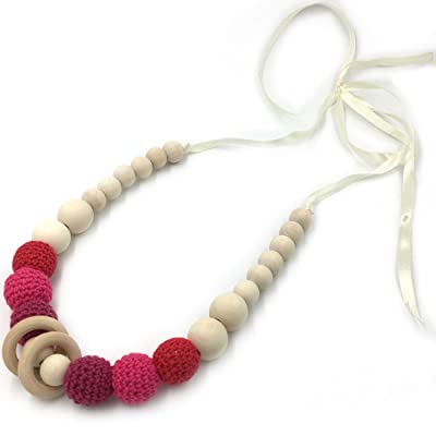 Amyster Red Crochet Beads Baby Teether Necklace Beads Safe Teething Necklace with Organic Natural Wood Toy Mom Kids Wooden Teether Necklace : Baby