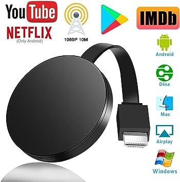 Adaptador de Pantalla Inalámbrico HDMI, Receptor de Pantalla Inalámbrico 1080P HD, Wireless Display Dongle Streaming para iOS/Android/ Windows, Compatible con Chromecast/DLNA/Airplay/Miracast: Amazon.es: Electrónica