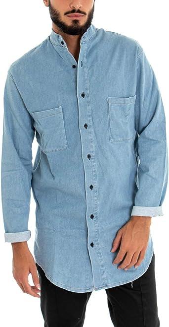 Giosal Camisa Denim Hombre Manga Larga Jeans Cuello Coreano Casual Denim M: Amazon.es: Ropa y accesorios