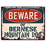Beware of BERNESE MOUNTAIN DOG Chic Sign Vintage Retro Rustic 9