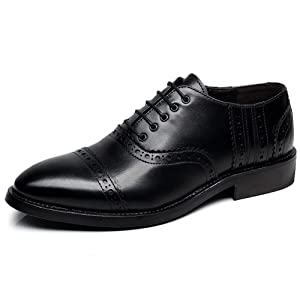 Rismart Men's Fashion Pointed-Toe Dress Leather Shoes Classic Business Oxfords Black SN16898 US9.5