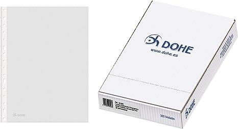 DOHE Basic - Pack de 100 fundas multitaladro A4 Cristal: Amazon.es: Oficina y papelería
