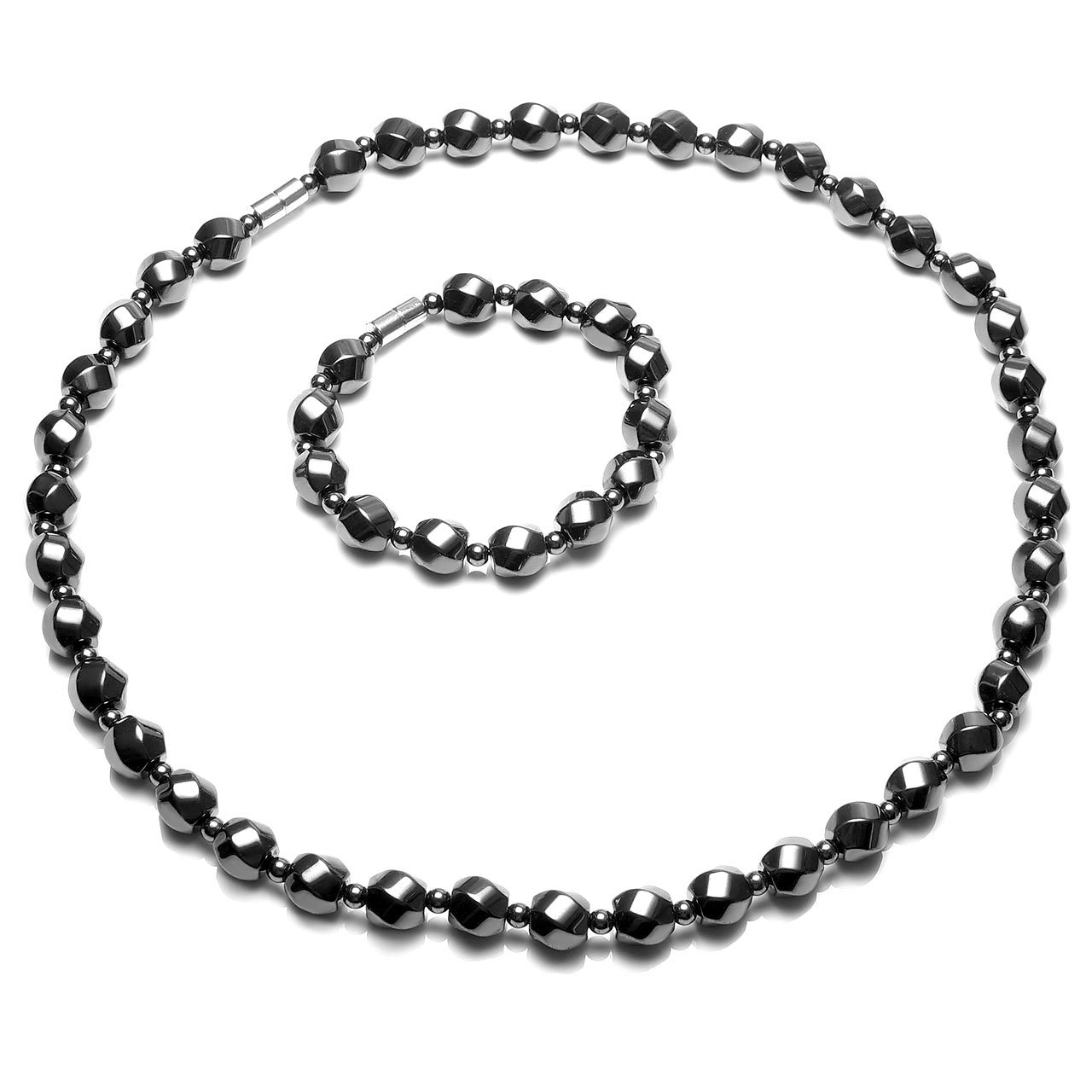 Top Plaza Men's Womens Healing Natural Tiger Eye Stones Black Hematite Magnetic Beads Therapy Unadjustable Clasp Bracelet Necklace Set for Pain Anxiety Relief #7