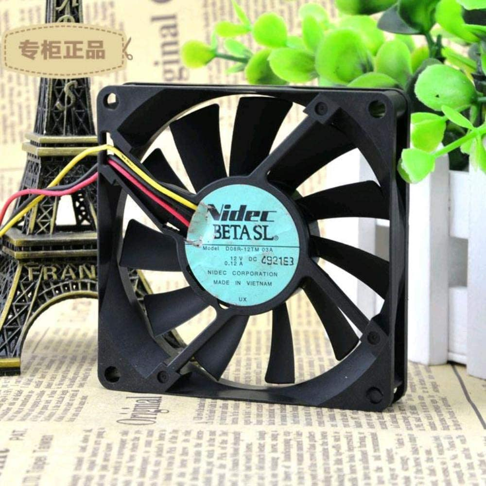for NIDEC 8015D08R-12TM 03A1V 0.12A3-wire CPU Ultra-Quiet Cooling Fan