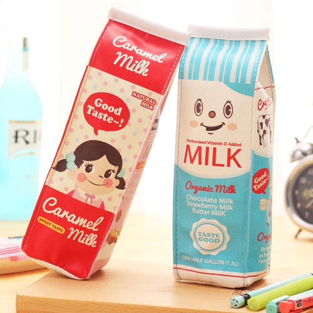 Pencil Case Packs 2 Colors of Set by Shining Soul, Exquisite Milk Cartons Waterproof PU Pencil case Bag Office Stationery Bag