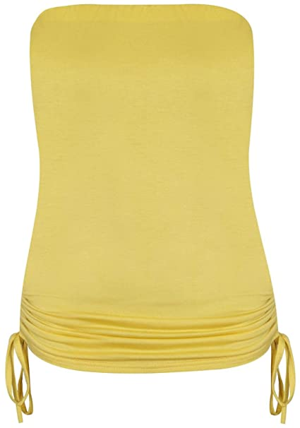 89be415636f WOMENS SIDE TIE BOOBTUBE TOP STRAPLESS LADIES LONG BANDEAU TOPS SUMMER CROP  VEST  Amazon.co.uk  Clothing