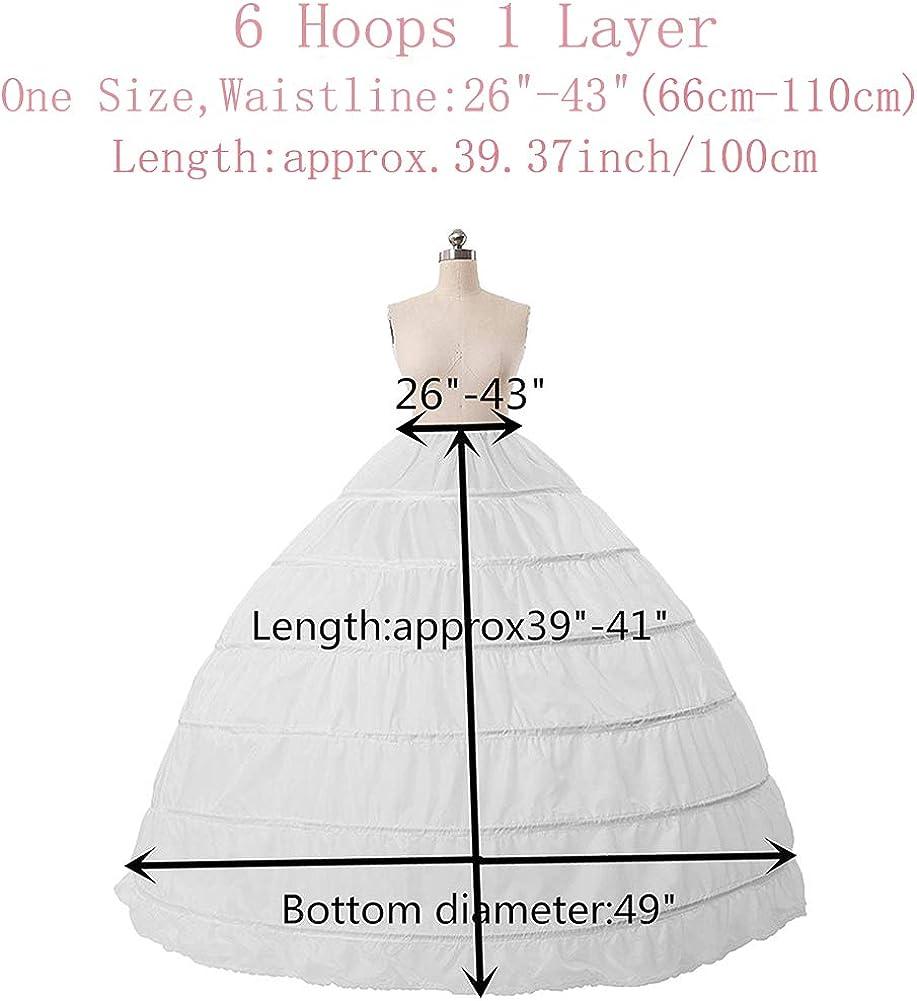 XYDS Women A-line 6 Hoop Pettcoat Floor-Length Crinoline Underskit for Bridal Wedding Prom Dress