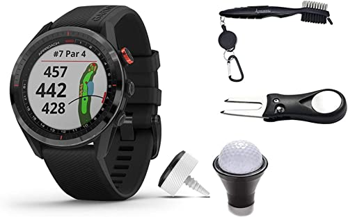 Garmin Approach S62 Premium GPS Golf Watch and Wearable4U Bundle All-in-One Golf Tools Bundle, Black Black Bundle