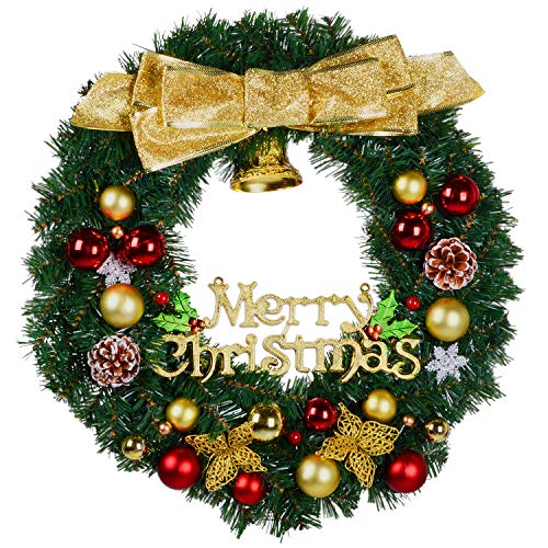 DearHouse Christmas Wreath, 22 Inch Merry Christmas Decorated Pine Wreath, Artificial Garland Ornament Gifts Holiday Wreath for Christmas Party Decor, Front Door Wreath,Gift Box Included