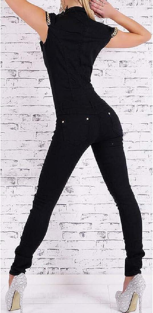 Joe Wenko Womens Pockets Short Sleeve Button Down Romper Skinny Rompers Jumpsuit
