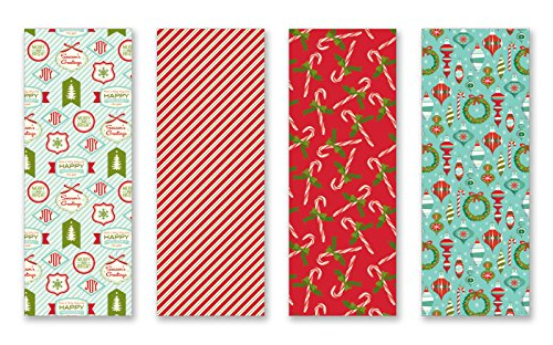 Christmas Gift Wrap Set - Christmas Gift Wrapping Paper Multi Pack of 4 Rolls of Gifting Wrap Xmas Gifts Nostalgic Holiday Set; Total of 100 sq ft