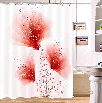 Lb Fleur Plante Rouge Rideau De Douche Pour Accessoire De Salle De Bain 180 180 Cm