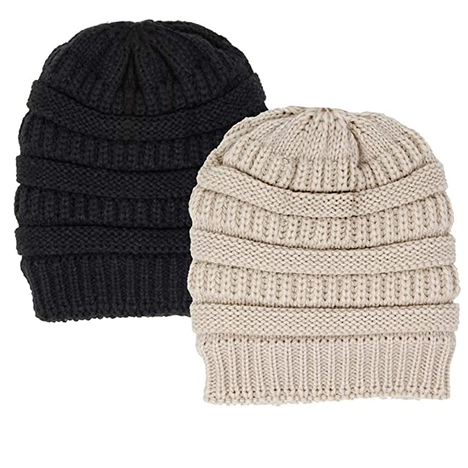 Me Plus Winter Fleece Lined Soft Warm Cable Knitted Beanie Hat for Women    Men ( 8bfaaddfb36