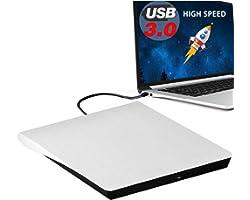 External DVD Drive, USB 3.0 Portable CD/DVD-RW Drive/ DVD Player for Laptop CD ROM Burner Compatible with Laptop Desktop PC W