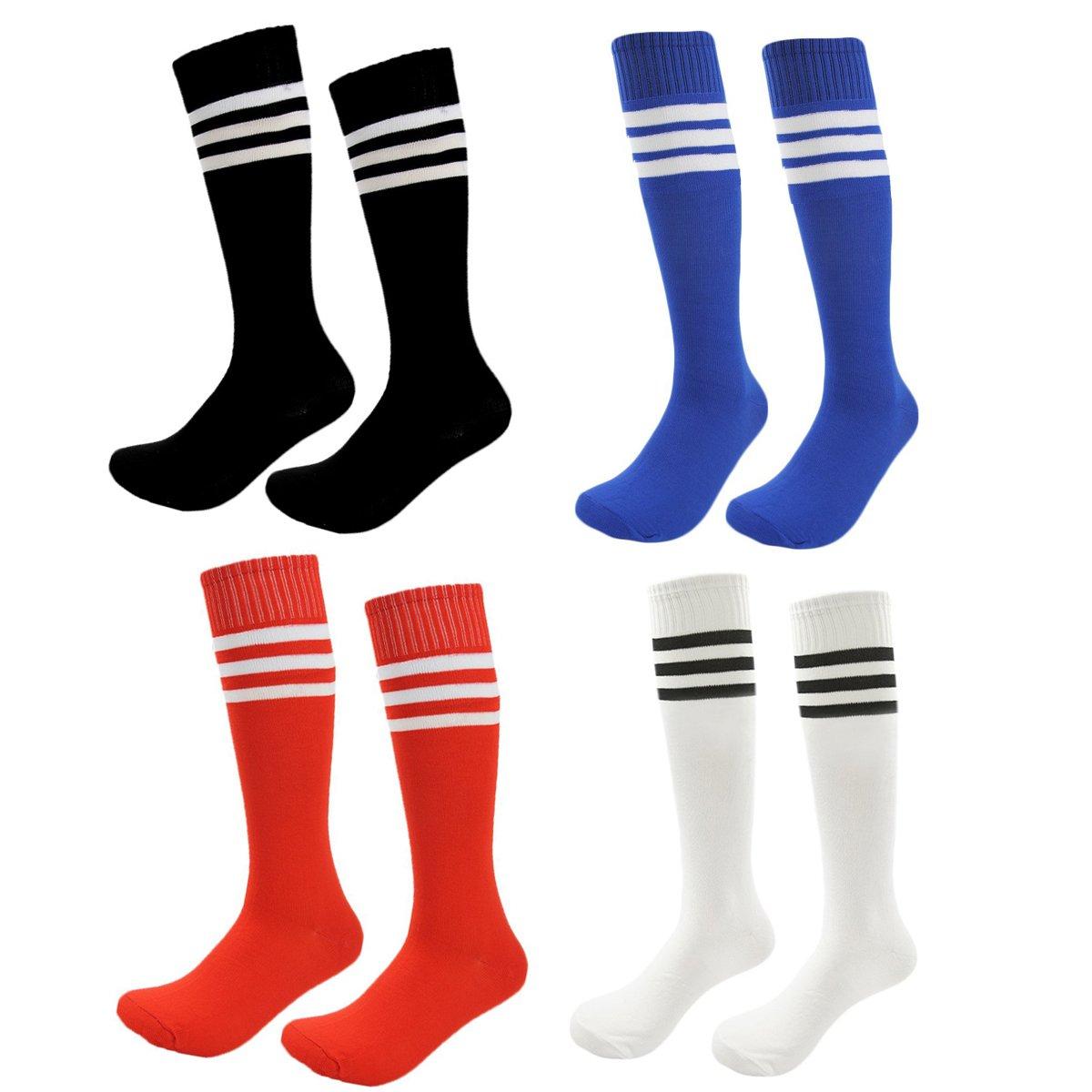 Kids Soccer Socks 4 Pack Boys Girls Cotton Team Socks Teens Children Soccer Socks (Shoe size 8-13 and Ages 4-7, Rainbow1) by FoMann