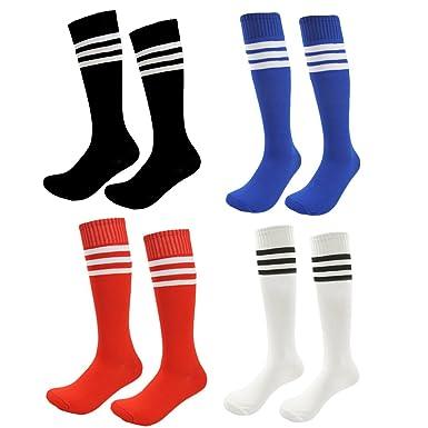 9877ce61053 Kids Soccer Socks 4 Pack Boys Girls Cotton Team Socks Teens Children Soccer  Socks (Shoe
