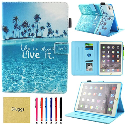 (iPad Air 2 Case, iPad Air Case, iPad 9.7 2017/2018 Case, Dluggs PU Leather Folio Smart Cover with Auto Sleep/Wake Function for Apple 9.7 Inch Tablet iPad 6th / 5th Gen, iPad Air 1/2, Beach)