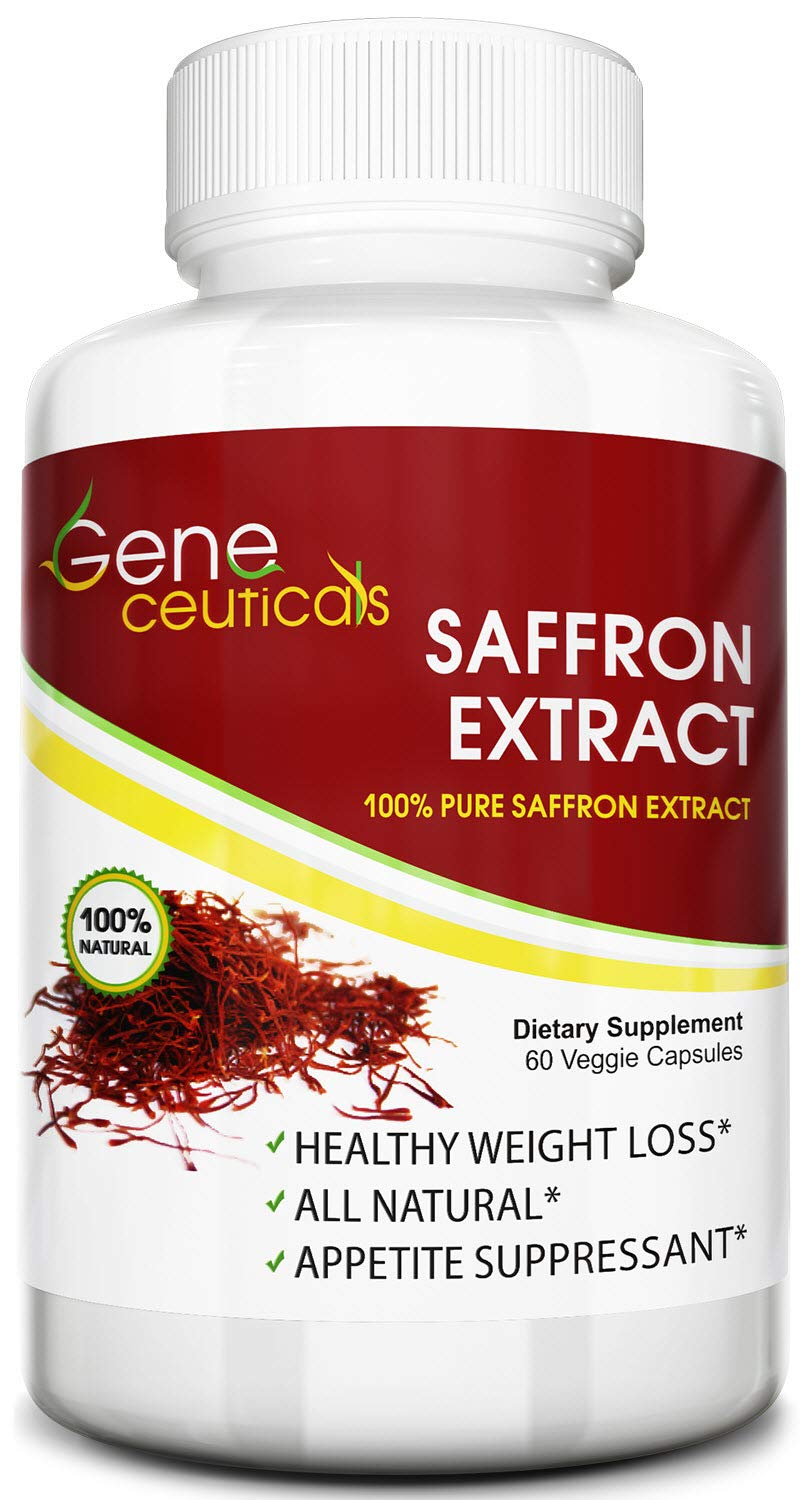Geneceuticals Saffron Extract (Crocus Sativus) – Best for Appetite Control and Suppressant – Works as Mood Booster and Supports Good Eyesight – Standardized to 88.25mg Per Vegetarian Capsule – 60 Day