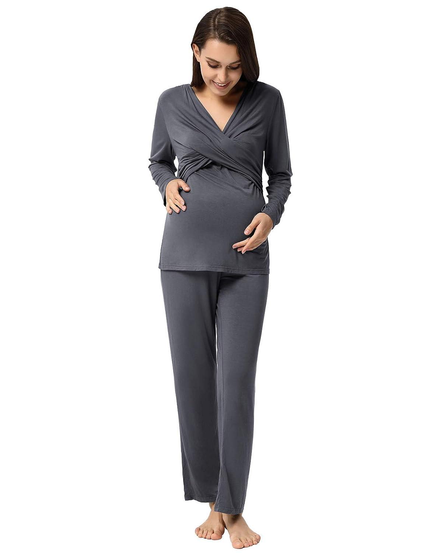 Maacie Maternity Long Sleeve Tops+Pants 2pcs Set Pajama Set
