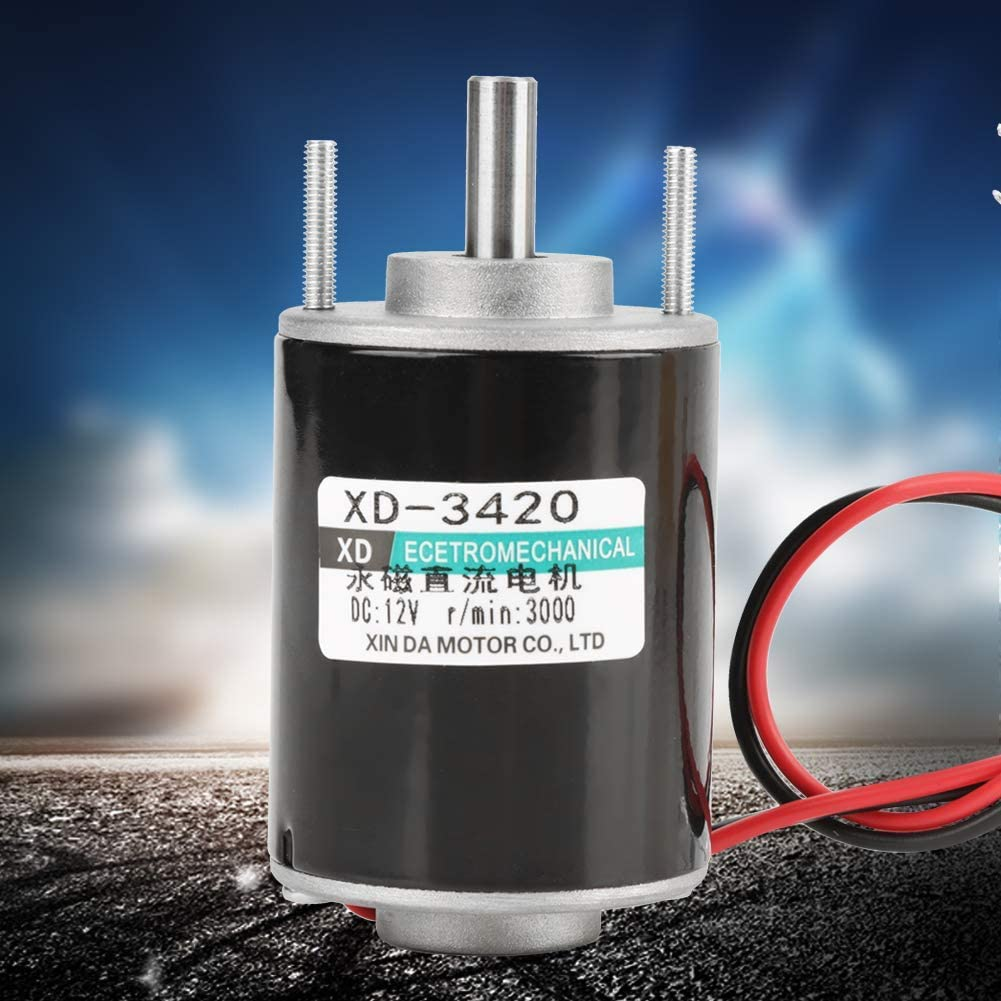 3500rpm Small Generator Electric Drill KONGZIR Brush DC Motor Hollow Shaft Design for Polishing Machine Permanent Magnet DC Motor Support CW//CCW Rotation Cutting Machine 12V