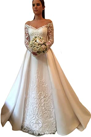 SDRESS Women s Illusion Lace Long Sleeve Off Shoulder Princess Wedding  Dress Ivory Size 2 c93fe022ea69