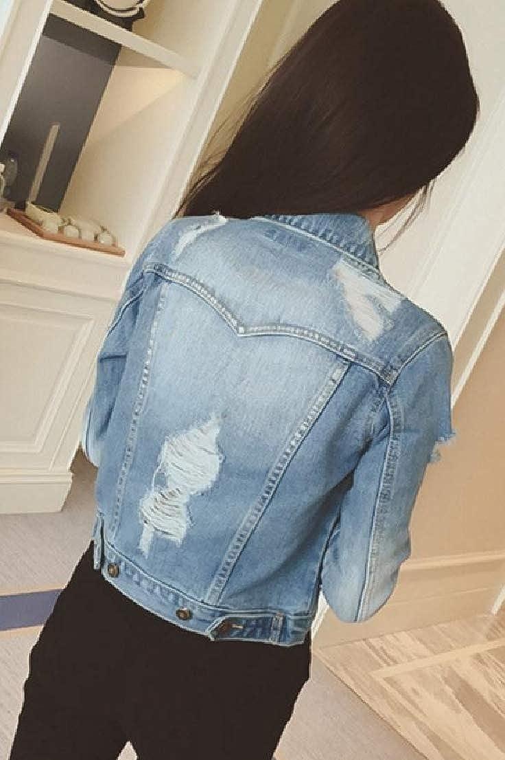BAYY Womens Denim Destroyed Buttoned Skinny Long-Sleeve Mini Outwear Jacket