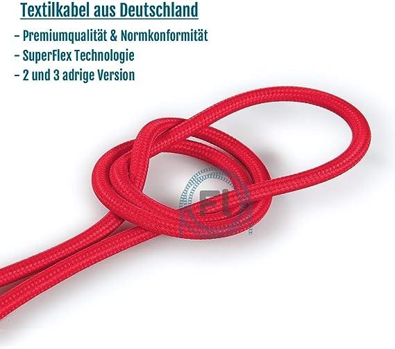 pendules lampes suspendues C/âble textile SuperFlex rouge /à monter soi-m/ême pour lampes en textile rouge