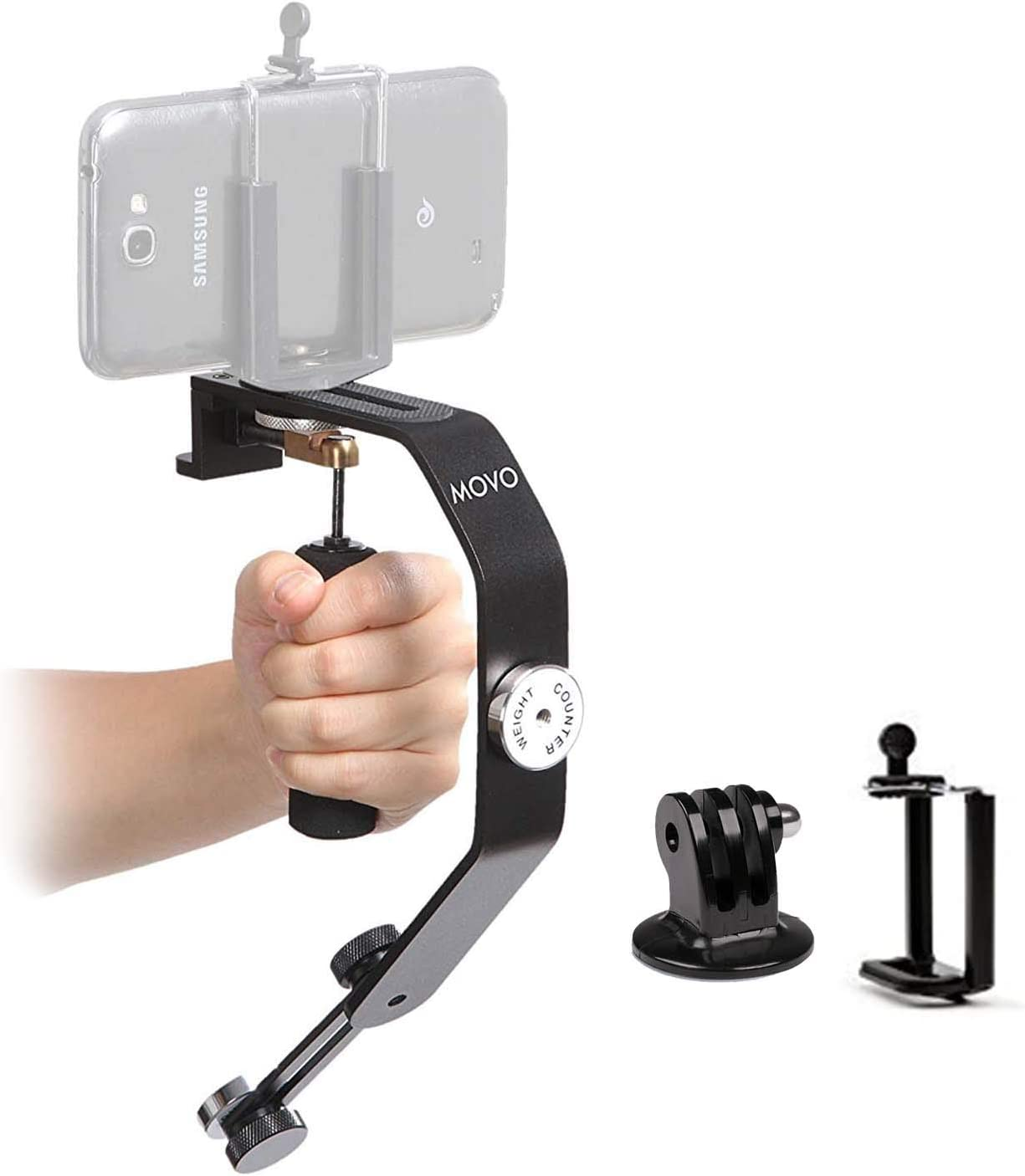 Movo Handheld Video Stabilizer System Compatible with GoPro Hero, HERO2, HERO3, HERO4, HERO5, HERO6, HERO7 & Apple iPhone 5, 5S, 6, 6S, 7, 8, X, XS, XS Max, Samsung Galaxy + Note Smartphones