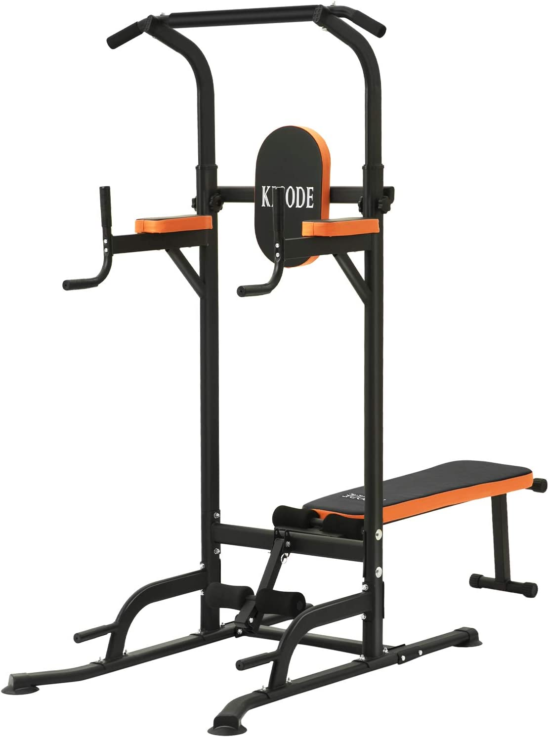 Kicode Power Tower, Workout Dip Station with Sit up Bench, Home Gym Pull Up Bar Dip Station