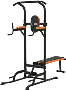 Kicode Power Tower, Workout Dip Station with Sit up Bench, Home Gym Pull Up Bar Dip Station, Exercise Tower Dip Stand, Adjustable Height Strength Training Multi-Function Fitness Equipment