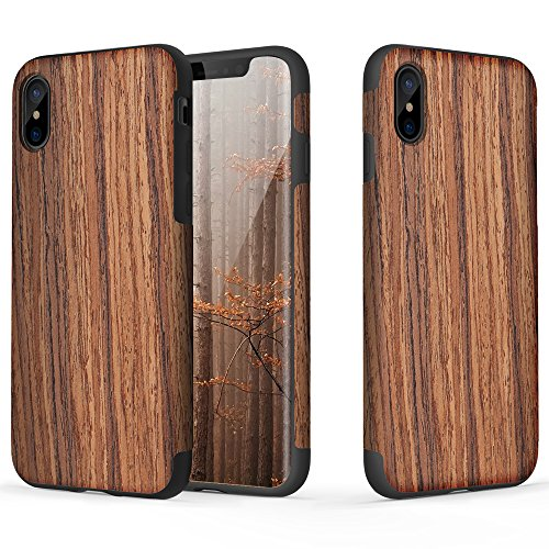iPhone X / iPhone XS Case, ROCK [Grained] - Rose Wood [Origin] [Non Slip] [Wood Tactile] [Natural Wood and TPU Rubber] [Fingerprint Free] Case for Apple iPhone X / iPhone XS