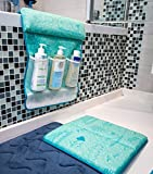 Bath Kneeler and Elbow Cushioned Protection Set for Baby Bathing - Thick, Comfortable, Carefully designed Bath Pads and Large Pockets Toy Organizer - Machine Washable