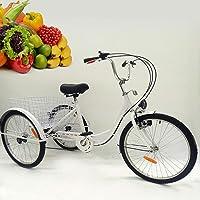 "OU BEST CHOOSE 24"" 3 Ruedas Triciclo Adulto con Bicicleta de 6 velocidades, Cesta de la Compra Trike Triciclo Pedal Bicicleta de Ciclismo, para IR de Compras al Aire Libre Picnic Deportes"