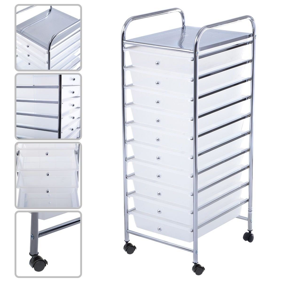 Moon_Daughter Files Tray Wheel Bins 10 Clear Drawer Rolling Storage File Supplies Organizer Office&Paper Craft Cart