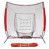 GoSports 7' x 7' Baseball & Softball Practice Hitting & Pitching Net with Bonus Strike Zone, Great for All Skill Levels