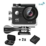 Daping Action Cam 1080p / 60fps H264, Videocamera Full HD 2.4G 2 Pollici LCD 170 gradi Ultra-wide Angle Lens 12 Megapixel, Sport Cam 4k Impermeabile fino a 30 metri, 2 Batterie + Vari Accessori