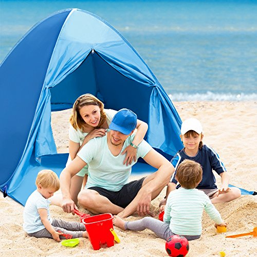 Pop Up Tent, Rusee Instant Portable Camping Tents 2-3 Person Fishing Anti UV Beach Shelter, Outdoor Automatic Cabana Beach Tent Sun Shelters for Backpacking Hiking with Carry Bag