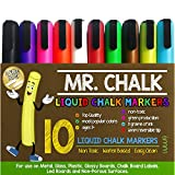 Mr. Chalk 10 Pack of 6MM Liquid Dustless Erasable Chalk Markers by School Smarts. Best Used for Menu Chalkboards, Bistro Signs, Glass, Metal, Chalkboard Contact Paper, Decorations and Holiday Crafts. Large 10 Pack with Reversible Tips. Great for Home,Office,Classrooms and Kids. DO NOT USE ON WALLS. Money Back Guarantee.