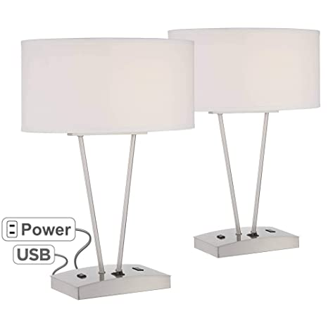 Phenomenal Leon Modern Table Lamps Set Of 2 With Hotel Style Usb And Ac Power Outlet In Base Silver White Oval Shade Living Room Family Possini Euro Design Download Free Architecture Designs Embacsunscenecom