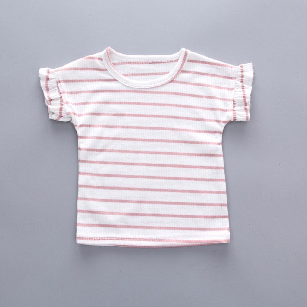 Bambini Pantaloncini dalla Cinghia Overalls 2pcs BYSTE Bambino Ragazzo Manica Corta a Righe Camicie Pullover Felpa Maglietta Neonato Estate T-Shirt Top