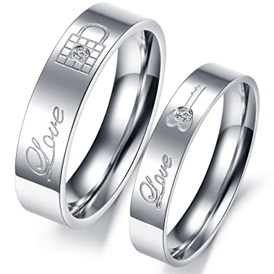 8f89614b11 Buy 19 Likes Love Engagement Silver Stainless Steel Finger Rings for Couples  for Online at Low Prices in India | Amazon Jewellery Store - Amazon.in