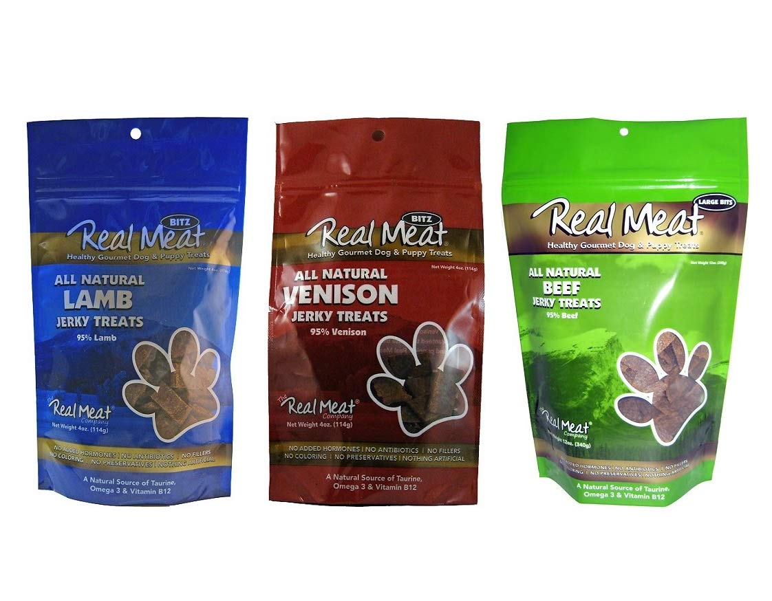 The Real Meat Company Dog Treats Variety Pack, 6 Bags of Jerky, Beef Venison and Lamb