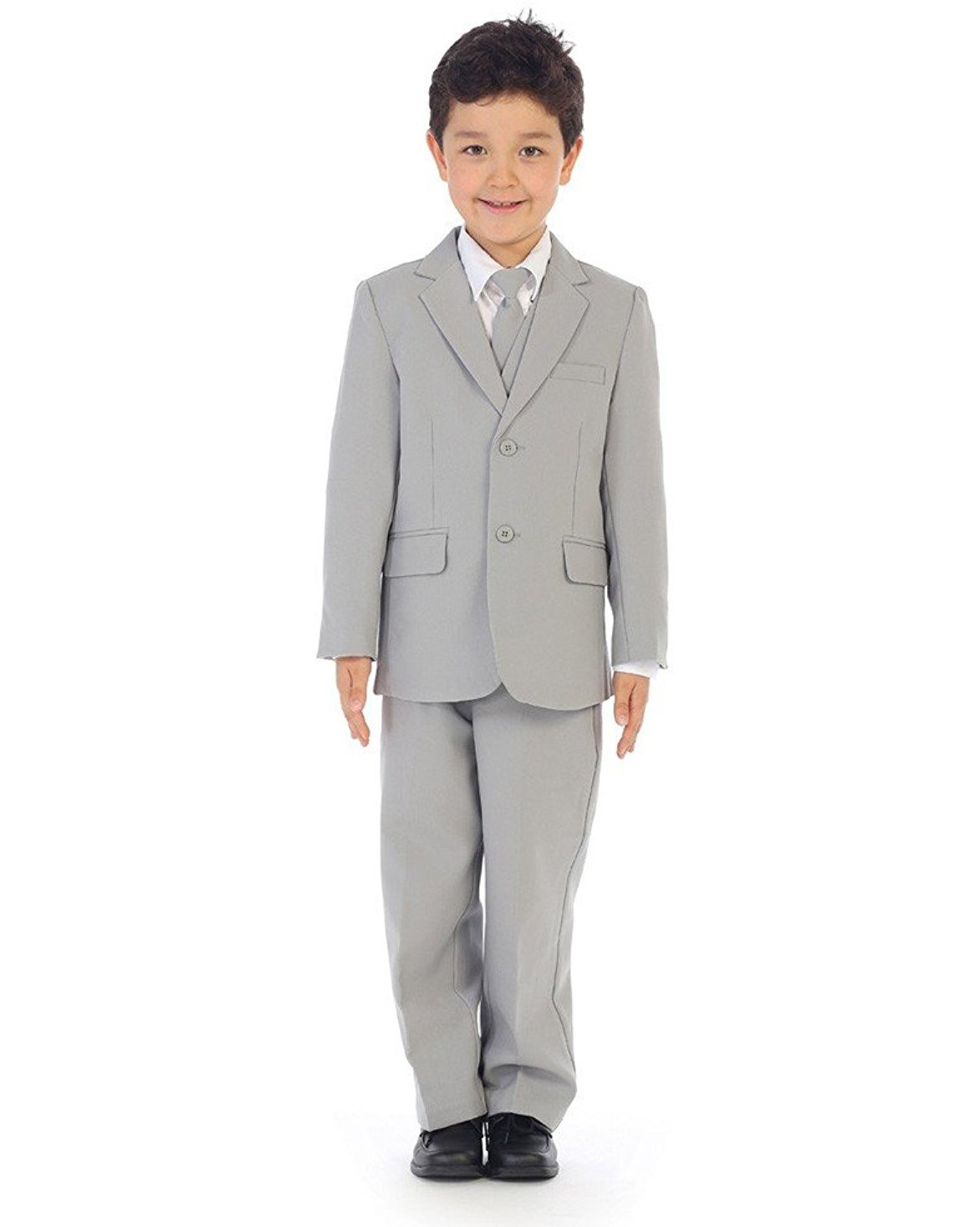 iGirldress Boys Slim Fit 5-Piece Formal Suit Set with Matching Neck Tie Silver Size 4
