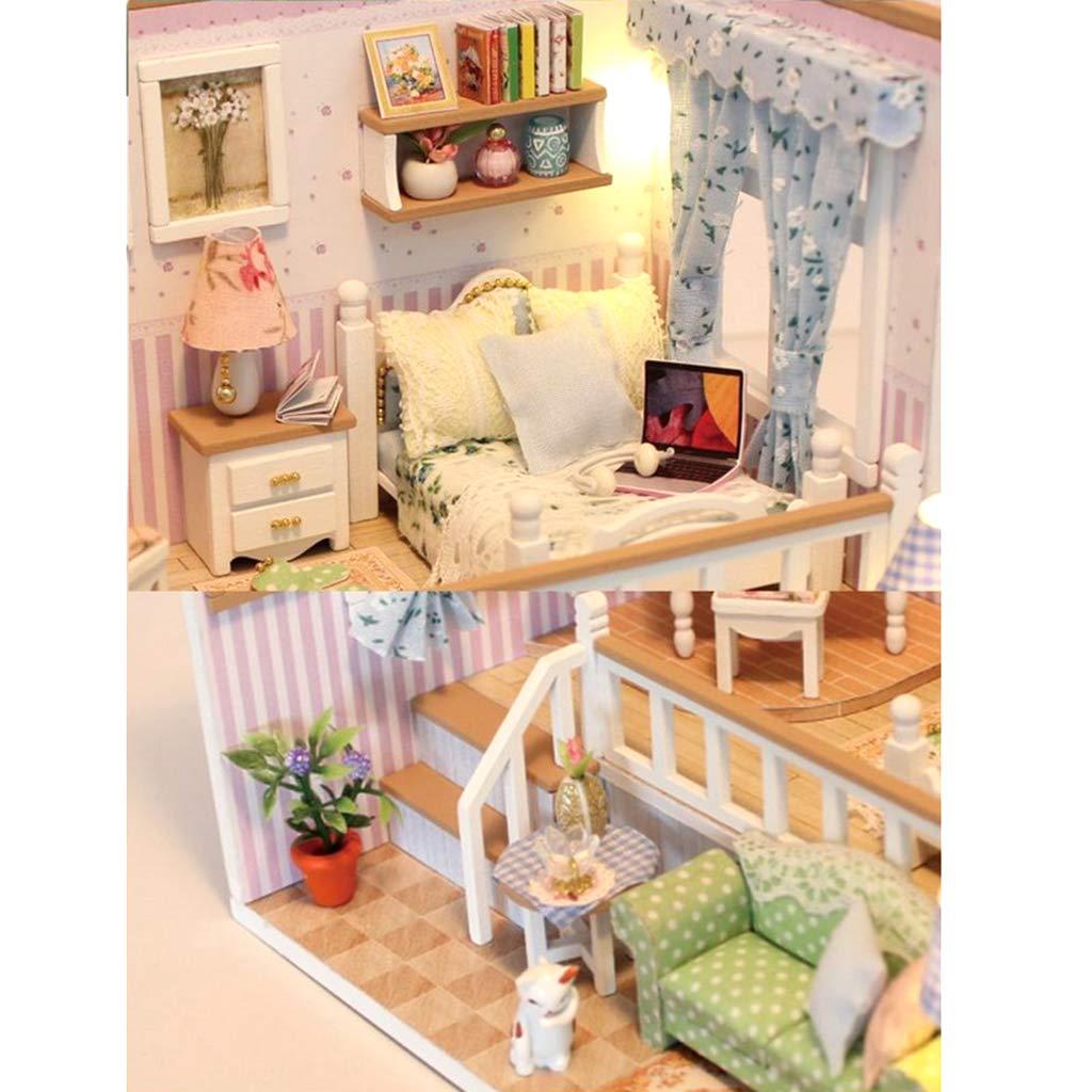 Mini-poupées et accessoires KESOTO Chambre en Bois DIY Modèle de ...