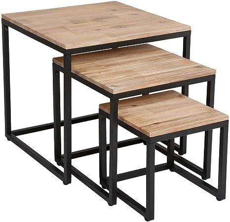 Lot De 3 Tables Basses Gigognes De Salon En Bois Effet Blanchi Et