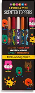 Red Co. Monster Themed Graphite Pencils with Scented Toppers, 5-Pack - Tangerine, Marsgmallow, Apple, Smores, Soda Pop