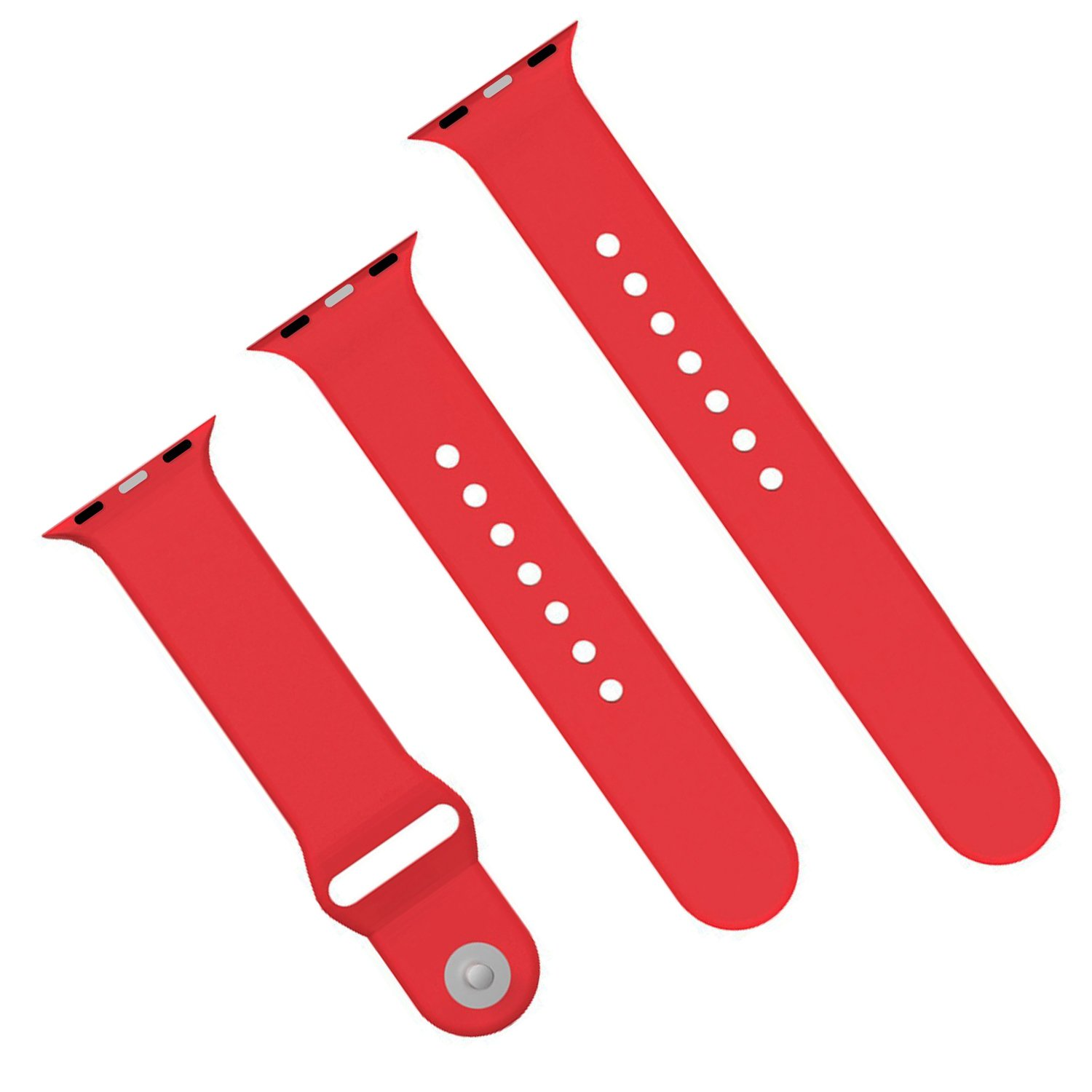 XIYA Soft Silicone Replacement Sport Band for Apple Watch for 2 Lengths, Red,42mm