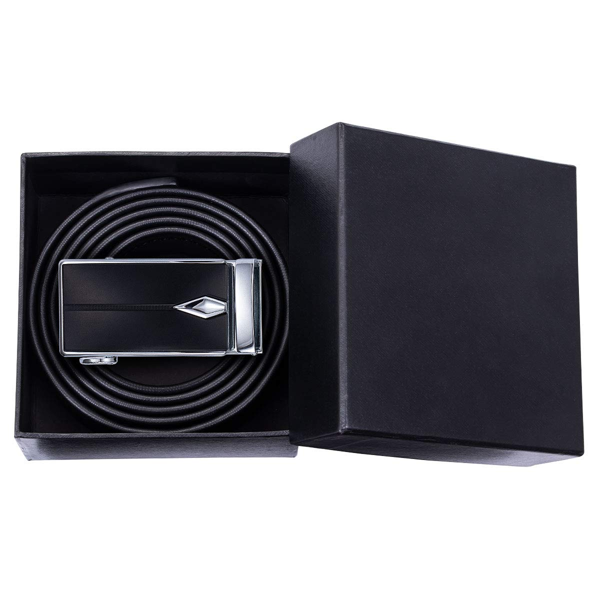 Mens Belt Black Cowhide Leather Belt with Automatic Buckle Removable,Gift Box