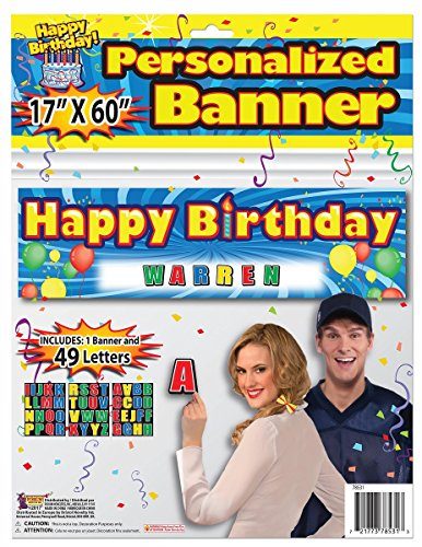 Forum Novelties Personalized Happy Birthday Banner Letters Included Party Marquee Spe Special Prop -